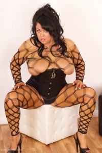 Busty Sienna in her black body stocking